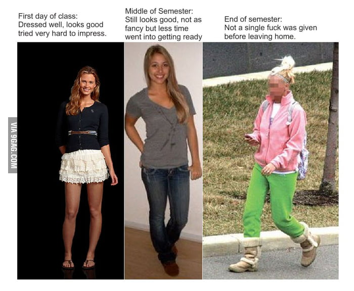 How women dress throughout their semester of college