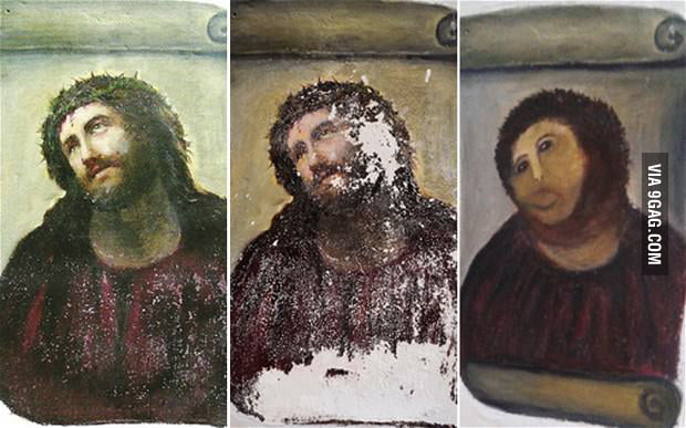 An old lady tried to restore a mural of Jesus