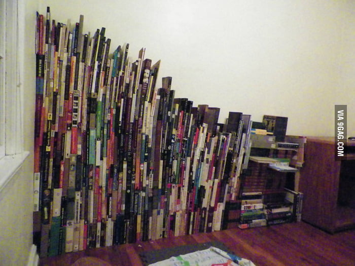 Who needs a bookshelf when you can do this?