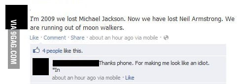 My facebook friend on Neil Armstrong's death.