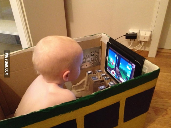 A cardboard box train with iPad