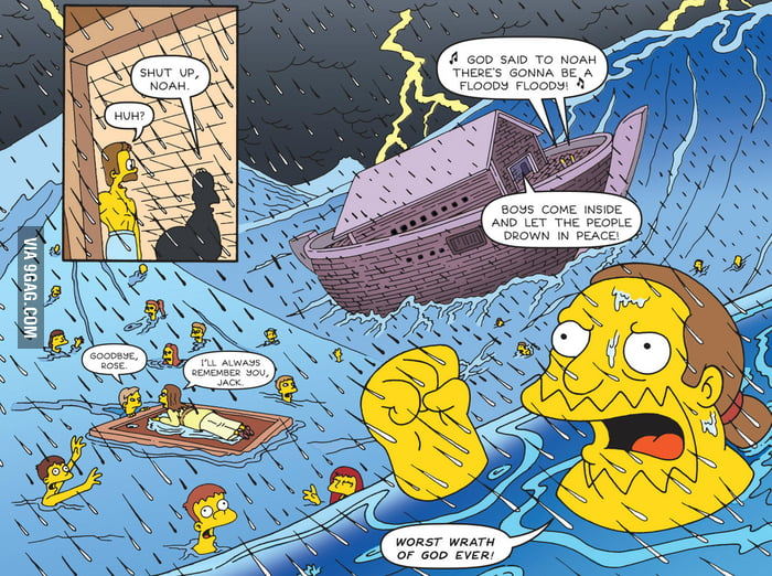 Simpsons: A parody of Titanic inside a parody of Noah
