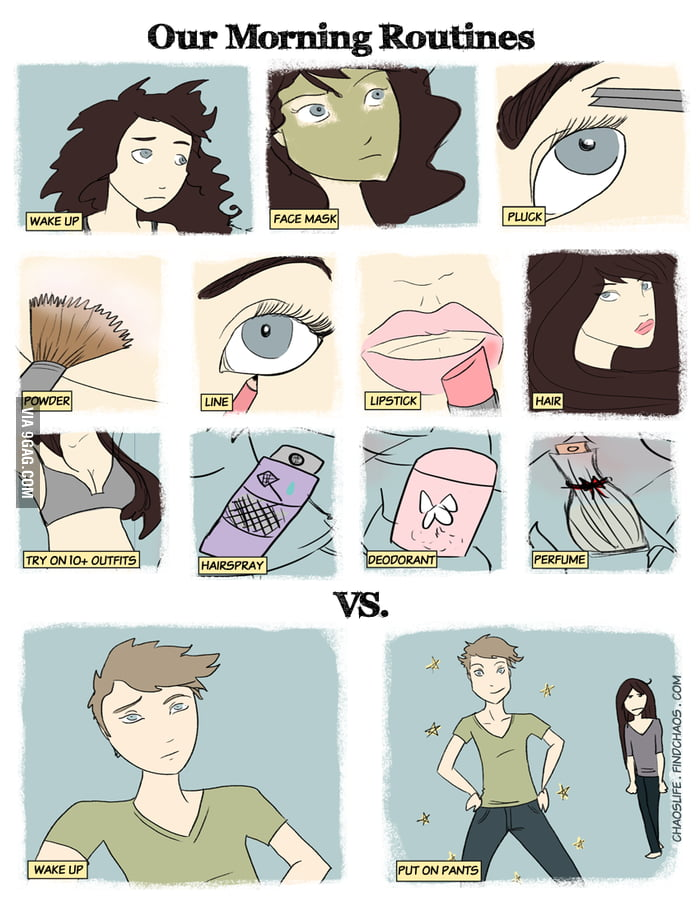 Morning Routines: Woman vs Man