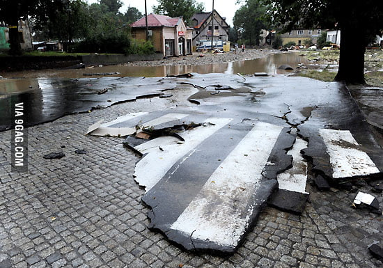 Road after flood in Poland