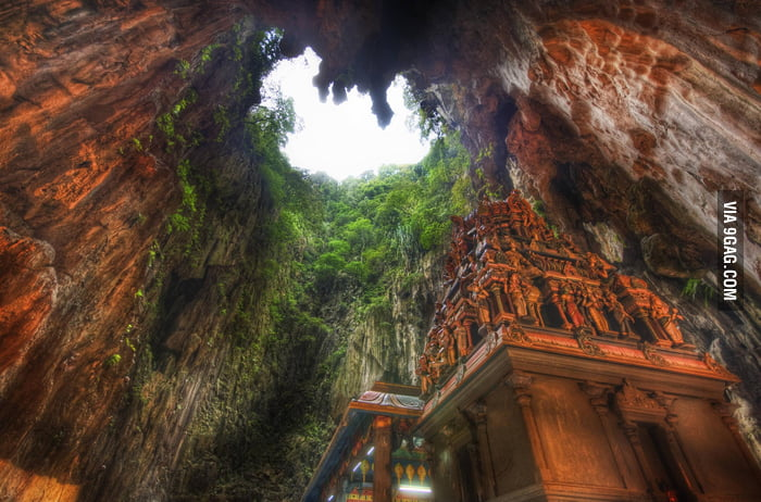 A temple deep in a cave