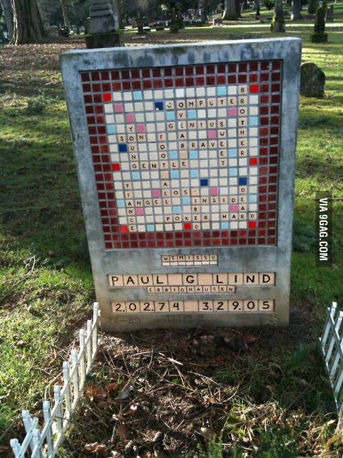The grave of a Scrabble fan.