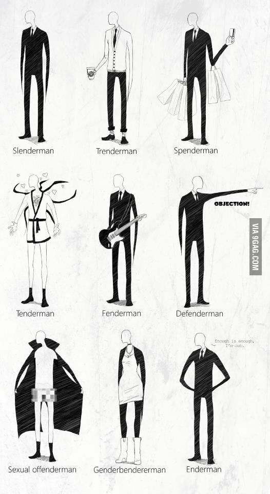 Many faces of Slenderman