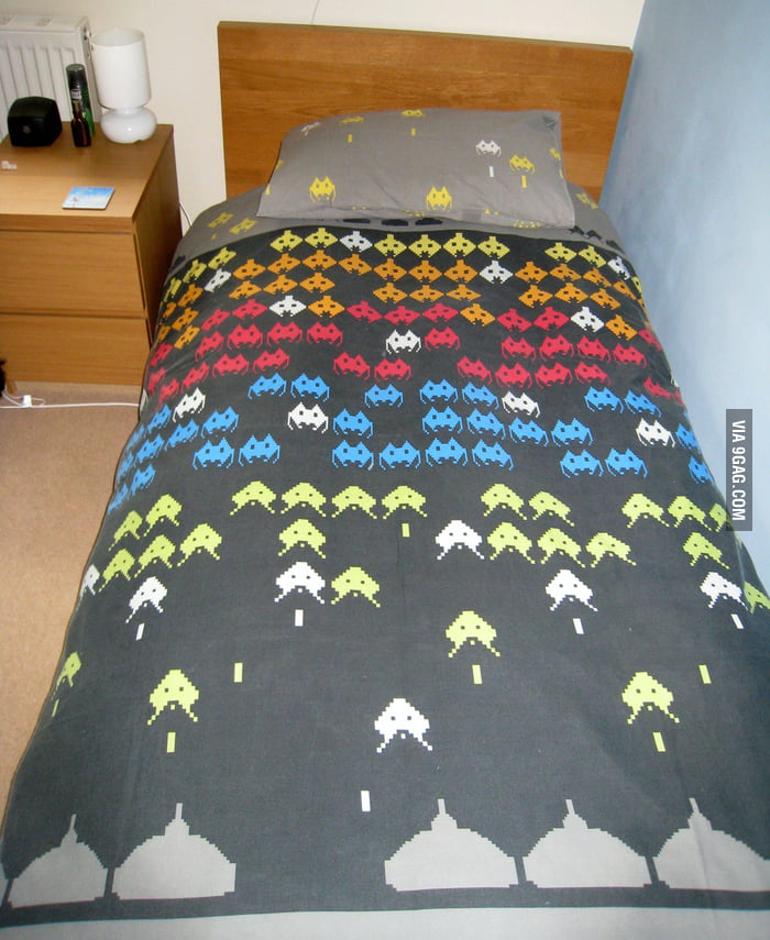 Space Invaders Bed Sheet