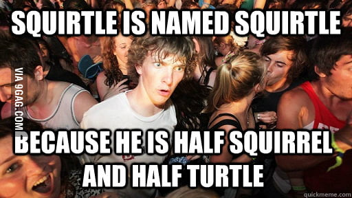 I just knew why Squirtle is named Squirtle today.