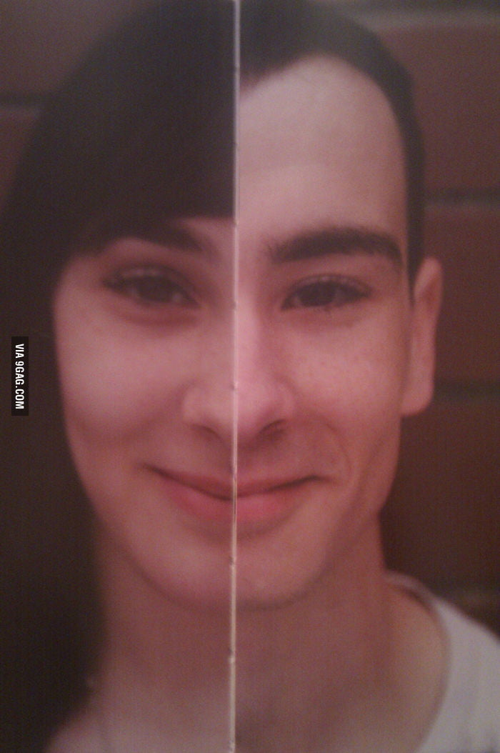 A perfectly combined face of sister and brother.