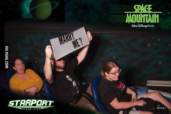 Badass Marriage Proposal on Space Mountain