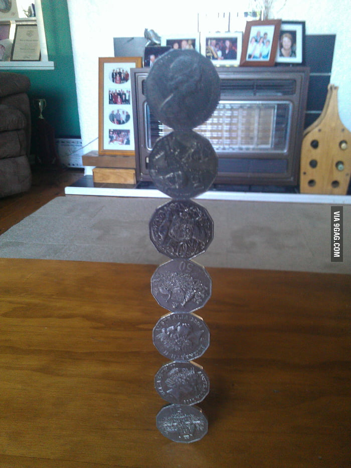 50 cent coin stacking