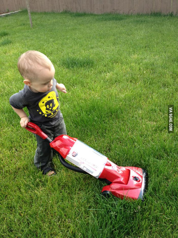 Kid, you're doing it wrong. That's a vacuum cleaner!