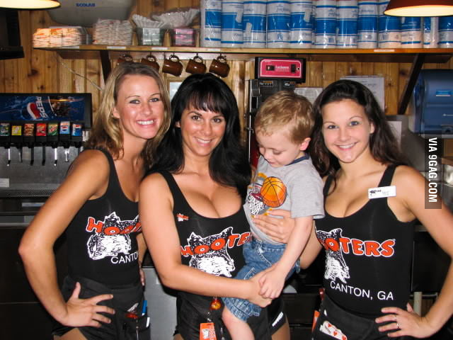 All male creatures love Hooters, including kids.