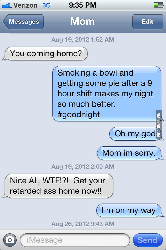 Tried to tweet, but texted mom instead.