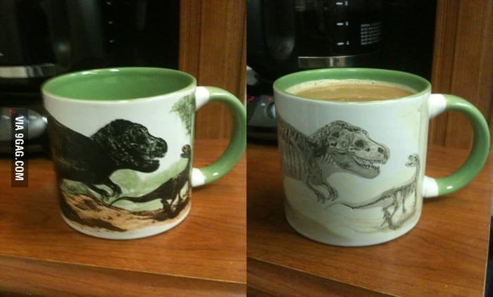 Dinosaur cup which changes due to temperature change.
