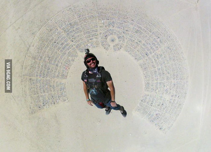 Skydiving into Burning Man.