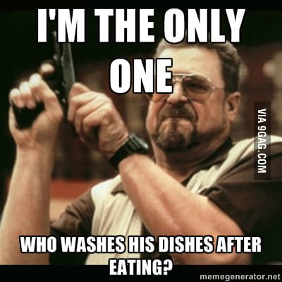 How I feel living in a dorm with common kitchen