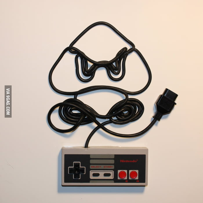 Goomba, created with Nintendo controller cord.