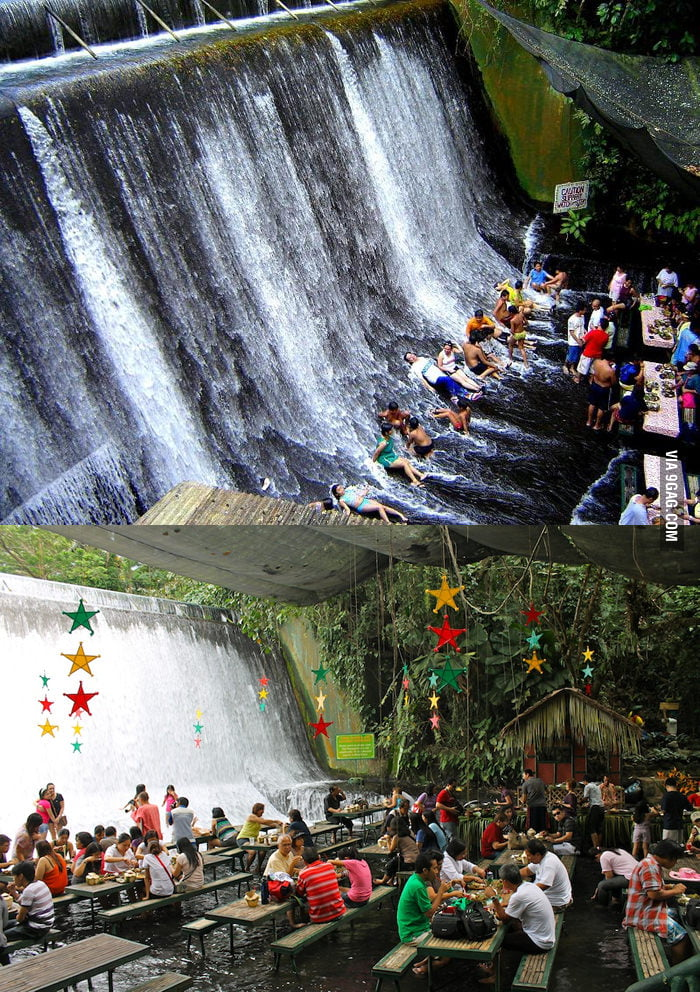 Amazing Waterfalls Restaurant in Villa Escudero, Philip