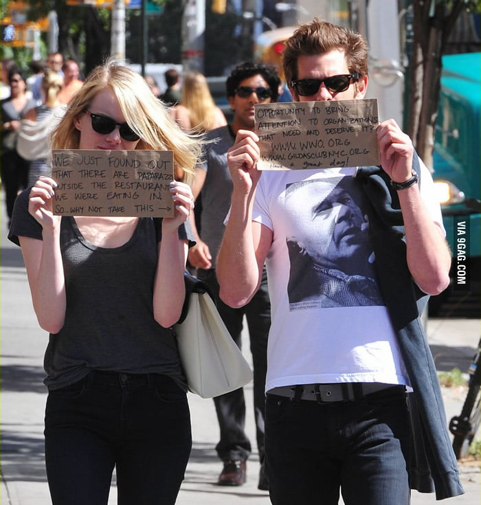 Emma Stone and Andrew Garfield found out there're paparazzi