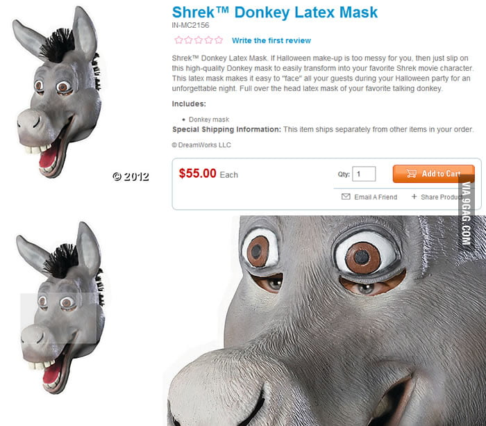 Creepy Shrek Donkey Latex Mask