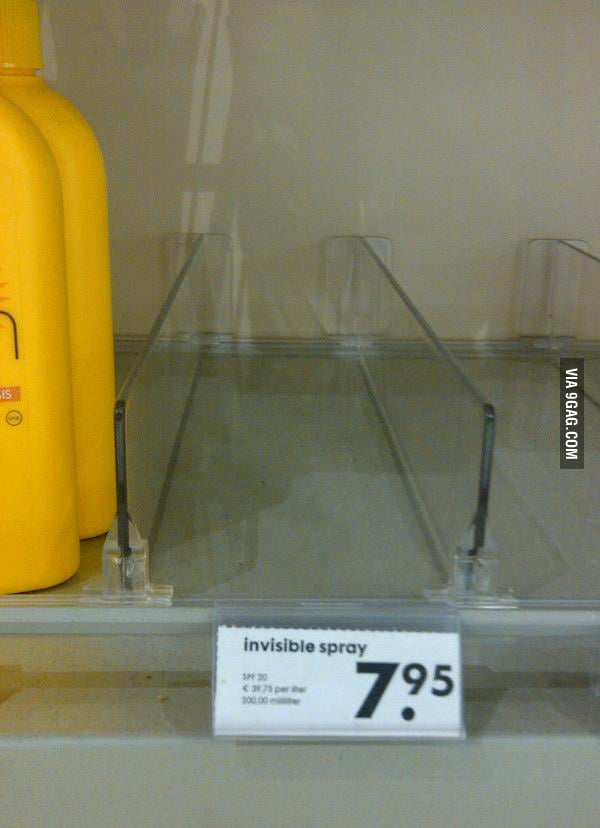 I found invisible spray today