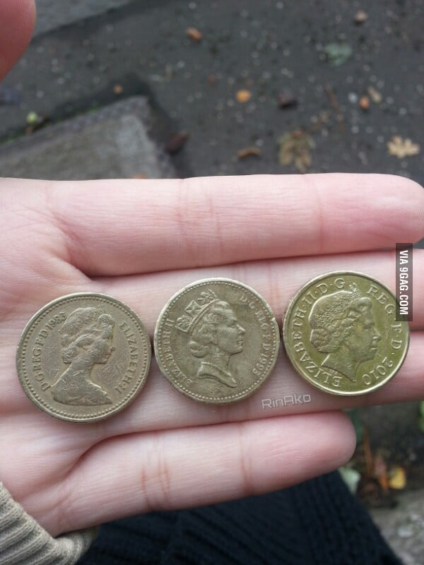 The Queen, Now and then. Watch her age thru Pound coins.