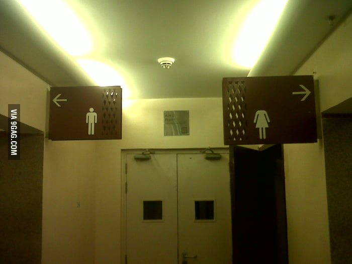 Washroom for men and decapitated women