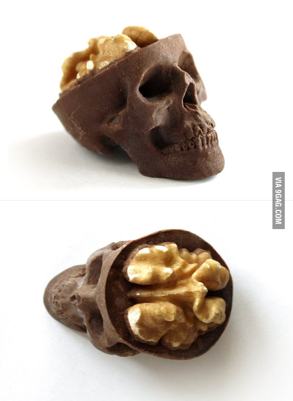 A chocolate skull with a nut brain