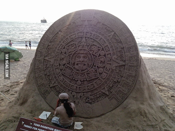 Aztec Solar Calendar made of sand