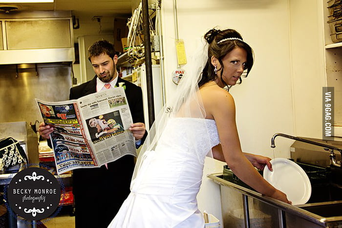 This wedding photo shows a good division of labor.