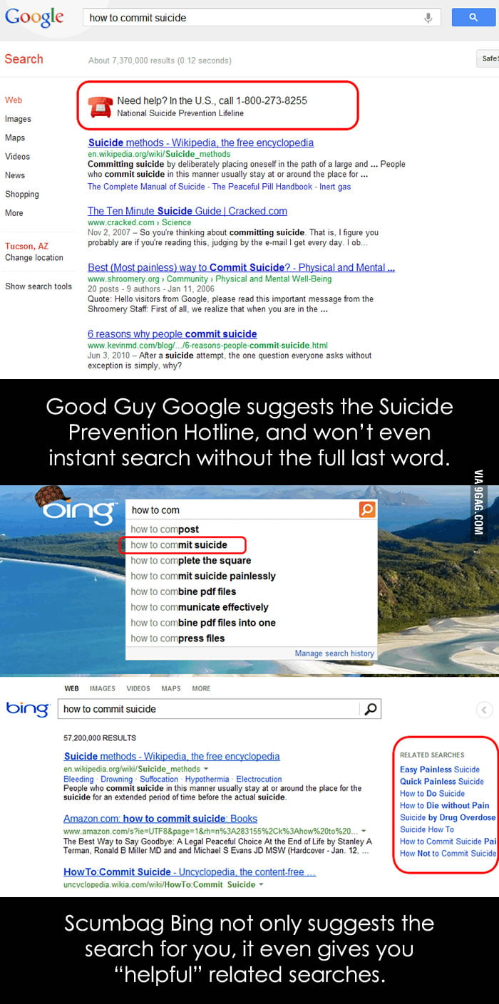 Good Guy Google vs Scumbag Bing