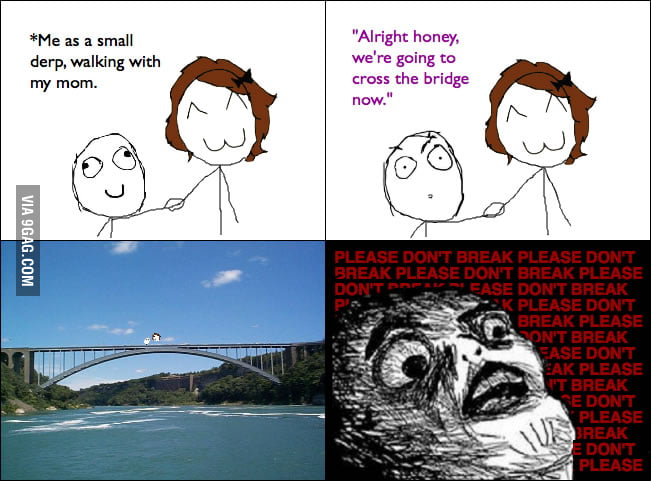 Every time I crossed a bridge when I was a kid.
