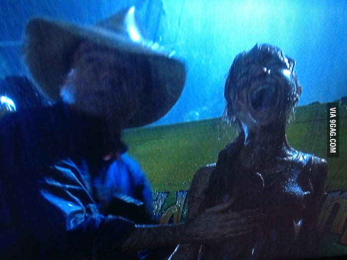 Paused Jurassic Park at a very awkward time.