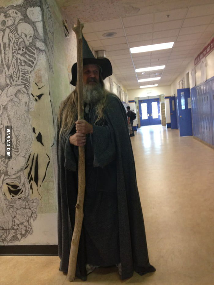 A teacher at school dressed as Gandalf today...