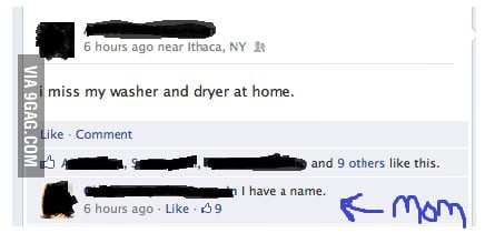 I miss my washer and dryer at home.