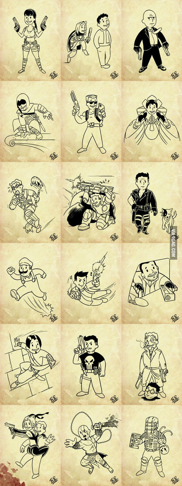All the characters of the awesome games