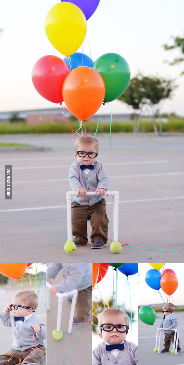 "Cute kid dressed as Carl Fredricksen from ""UP""."