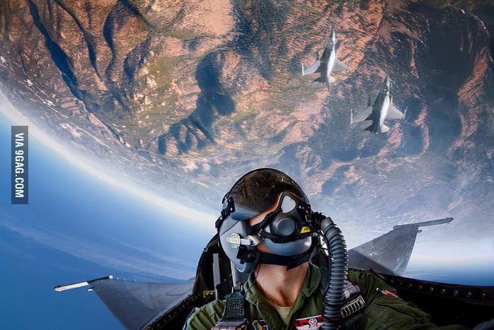 F-16 fighter pilot's point of view.
