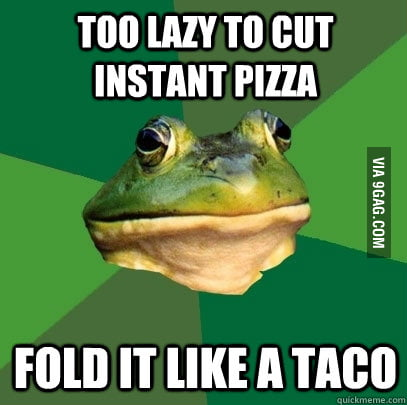 Foul Bachelor Frog eating pizza