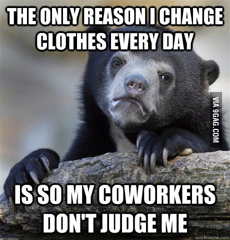 Confession bear doesn't change his shirt