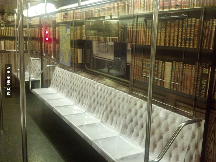 A train that's made to look like a library.