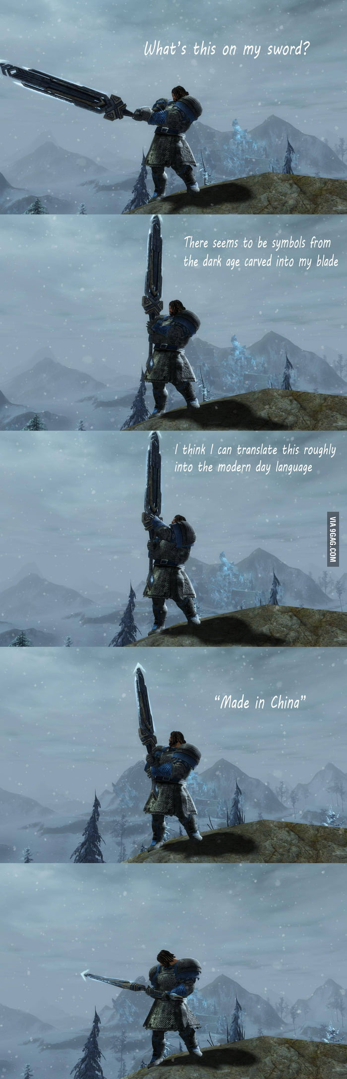 He found a sword which has some words on it...