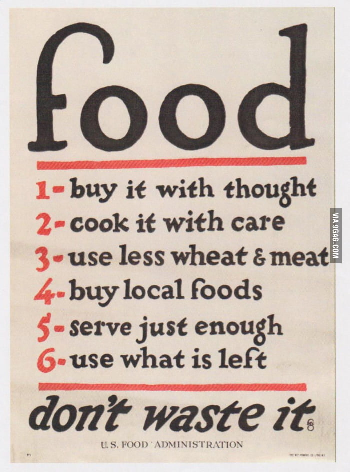 A World War One Poster: food - don't waste it.