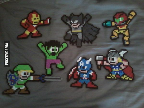 Superheroes in Mega Man style