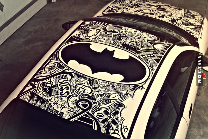 My friend's car, done completely in Sharpie.