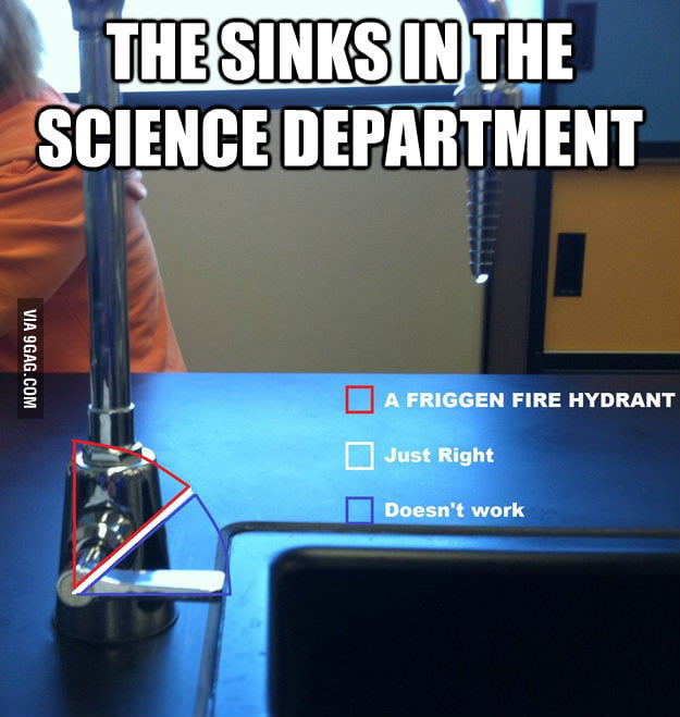 The sinks in the science department