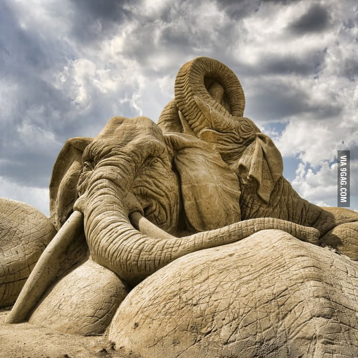 Amazing Elephant Sand Sculpture