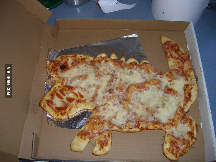 "Asked my local pizza shop to make something ""dinosaury"""